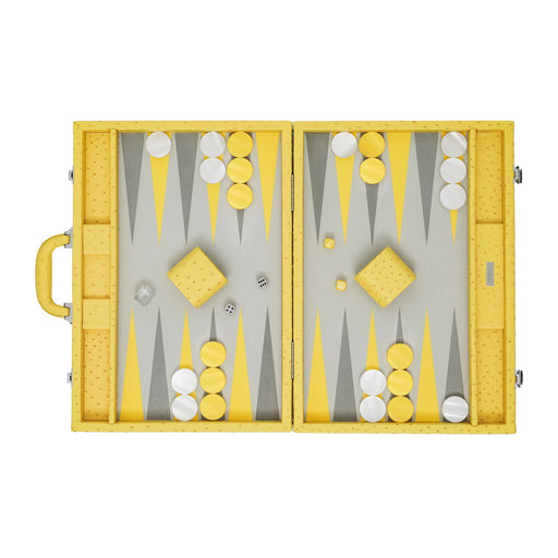 Yellow Ostrich  <br> Backgammon Set with Handle <br>  (L 52 x W 36) cm