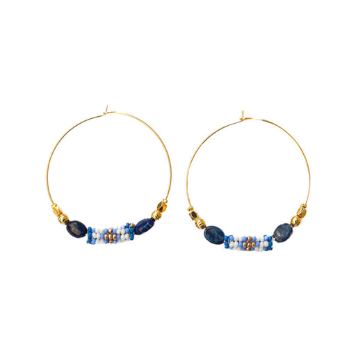 HOOP EARRINGS <br>Blue and Gold