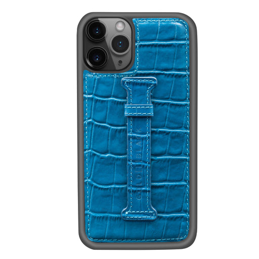 CROCO BLUE <br> IPHONE 11 PRO CASE <Br> WITH FINGER HOLDER