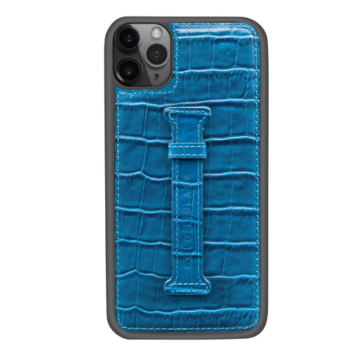 CROCO BLUE <br> IPHONE 11 PRO MAX CASE <br> WITH FINGER HOLDER