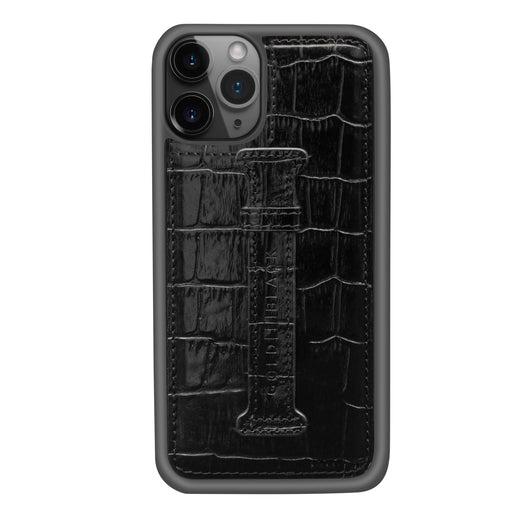CROCO BLACK <br> IPHONE 11 PRO CASE <Br> WITH FINGER HOLDER