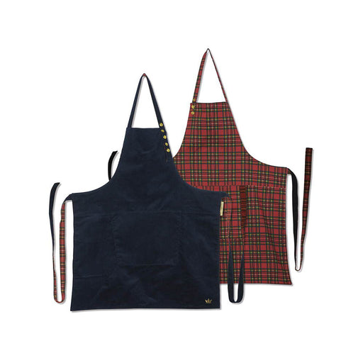 Reversible Style Apron <br>Navy/Checkered Red Corduroy