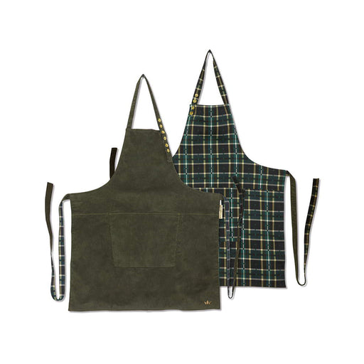 REVERSIBLE STYLE APRON <br>KHAKI/CHECKERED GREEN CORDUROY