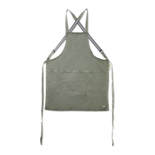 SUSPENDER STYLE APRON <br>GREY GREEN CANVAS