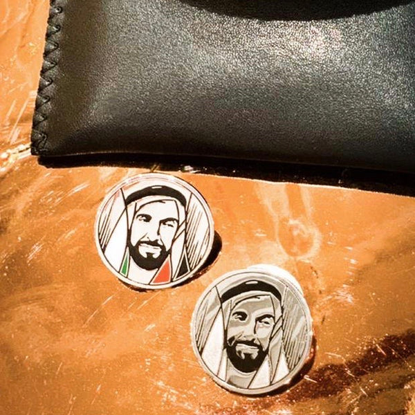 SHEIKH ZAYED SILVER <br>LAPEL MAGNETIC CLOSURE