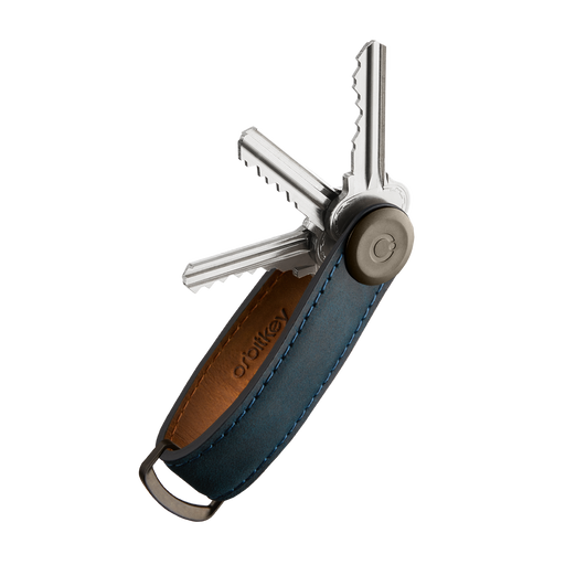 CRAZY-HORSE KEYCHAIN <br>MARINE BLUE WITH BLUE STITCHING