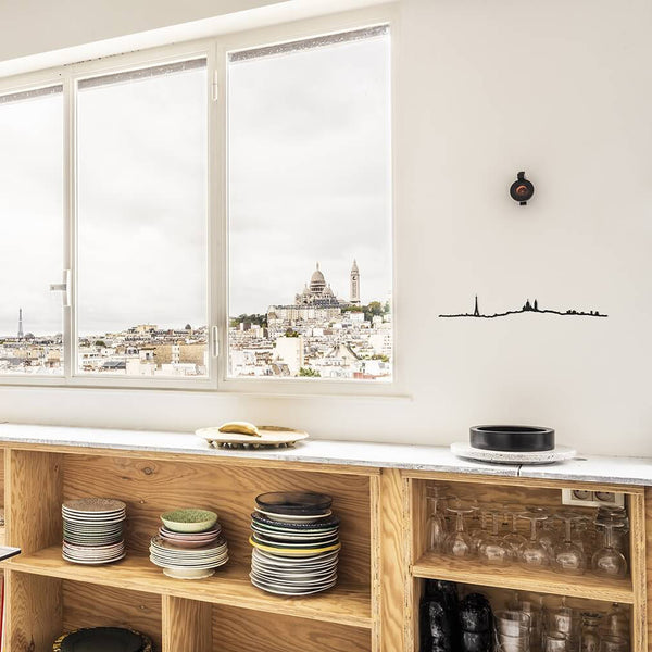 PARIS SKYLINE <br> BLACK <br> 125 CM