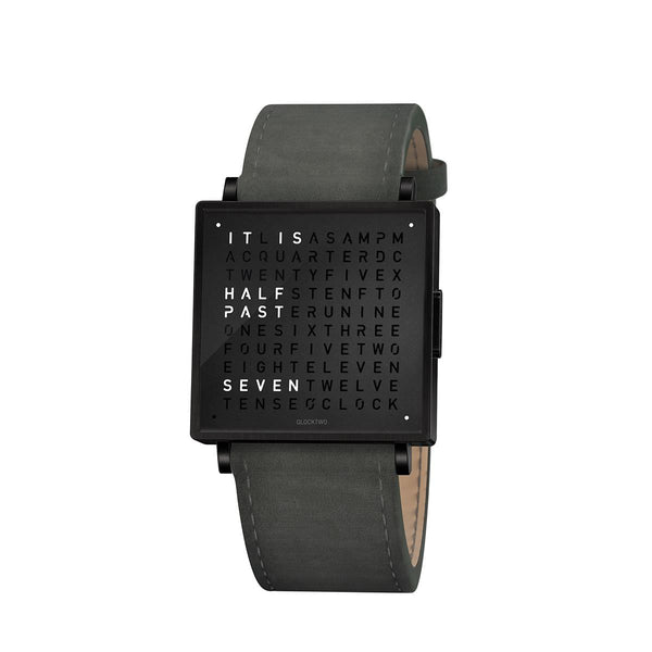 Qlocktwo W35 English <br> Suede Anthracite Strap