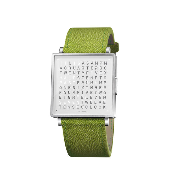 Qlocktwo W35 English <br> Leather Green Strap