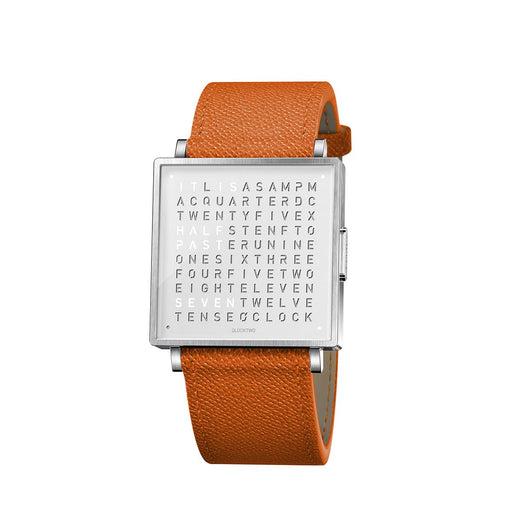 Qlocktwo W35 English <br> Leather Orange Strap