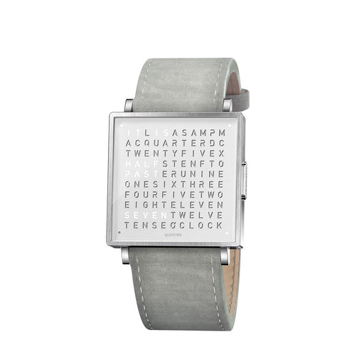 Qlocktwo W35 English <br> Suede Light Grey Strap