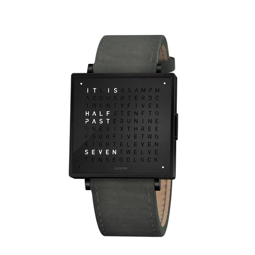 Qlocktwo W39 English <br> Suede Anthracite Strap
