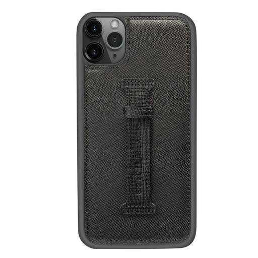 SAFFIANO BLACK <br> IPHONE 11 PRO MAX CASE <br> WITH FINGER HOLDER