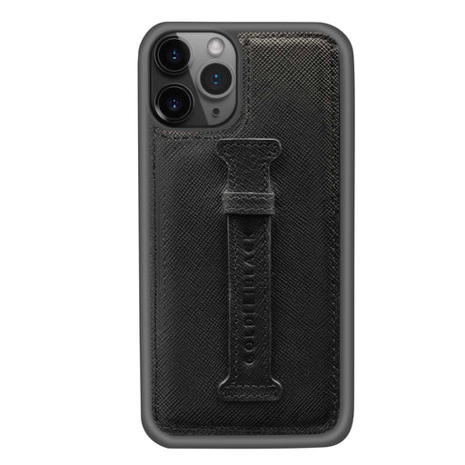 SAFFIANO BLACK <br> IPHONE 11 PRO CASE <Br> WITH FINGER HOLDER