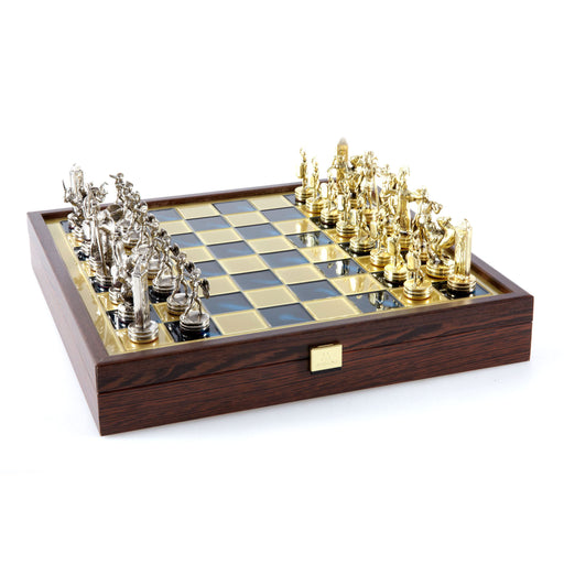 CHESS SET <br> GREEK MYTHOLOGY ON WOODEN BOX <br> (34 x 34) cm