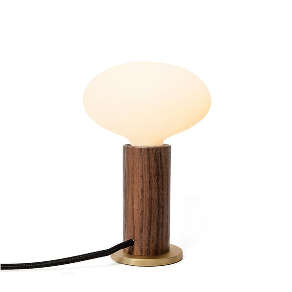 WALNUT TOUCH LAMP With Porcelain Bulbs