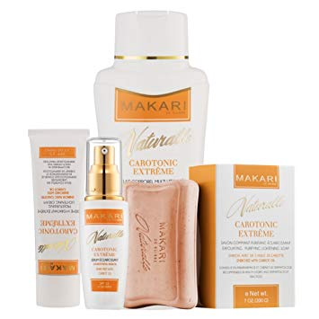 Makari Naturalle Carotonic Extreme Gift Set - Lightening, Toning & Moisturizing Cream and Serum With Carrot Oil & SPF 15 - Anti-Aging & Whitening Treatment for Dark Spots, Acne Scars & Wrinkles