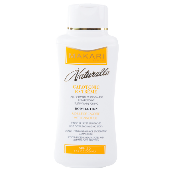 MAKARI - CAROTONIC EXTREME BODY LOTION SPF 15 Balances oil. Lightens scars. Brightens tone.  For combination, oily and acne-prone skin types.