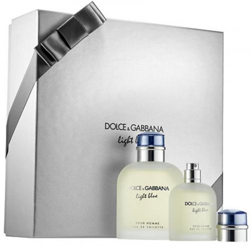FRAG - DOLCE & GABBANA LIGHT BLUE 2 PCS SET FOR MEN: 4.2 SPRAY (HARD BOX)