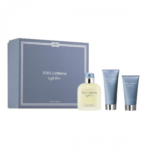 FRAG - DOLCE & GABBANA LIGHT BLUE 3 PCS SET FOR MEN: 4.2 Eau De Toilette Spray