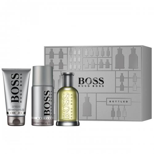 FRAG - HUGO BOSS BOTTLED 3 PCS SET FOR MEN: 3.3 oz (100mL) SPRAY (HARD BOX)