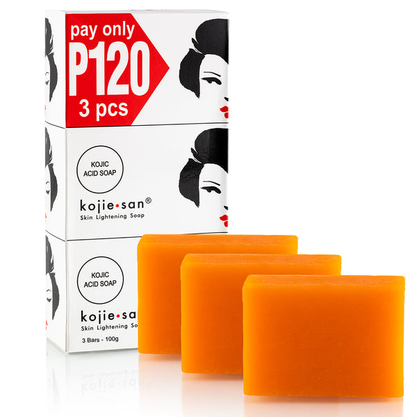 Kojie San Acid Lightening Soap 3 Bars - 100 g -The World Best Acne & Whitening Soap - Beware of fake Kojie