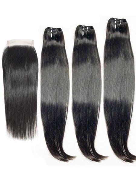 Raw Double-Drawn Straight (11A) Bundles + 4X4 Closure