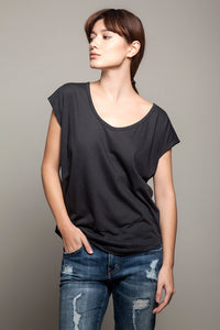 Basic Round Neck Tee Charcoal