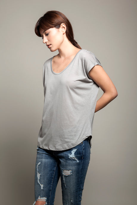 Basic Round Neck Tee Grey