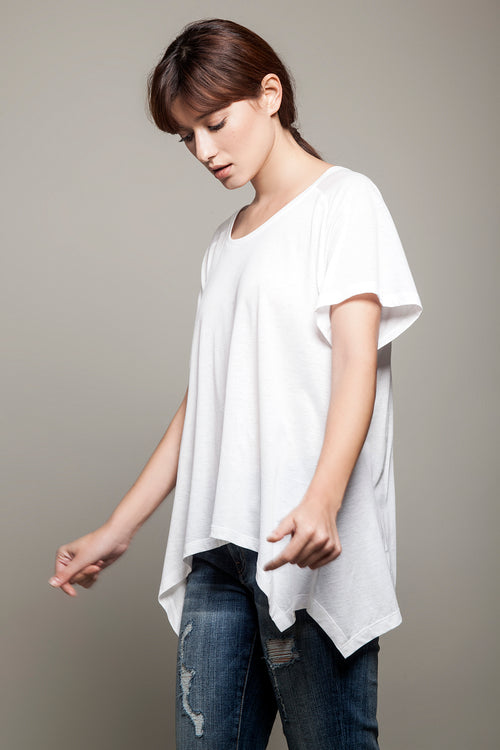 Round Neck Asymmetric Tee White