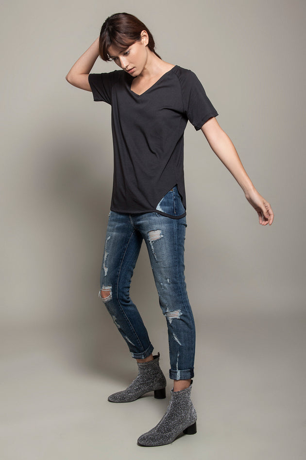 V Neck Cut Sides Tee Charcoal