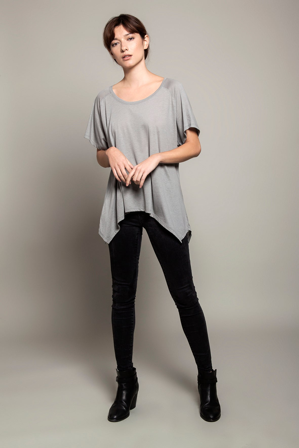 Round Neck Asymmetric Tee Grey