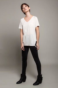 V Neck Cut Sides Tee Light Beige