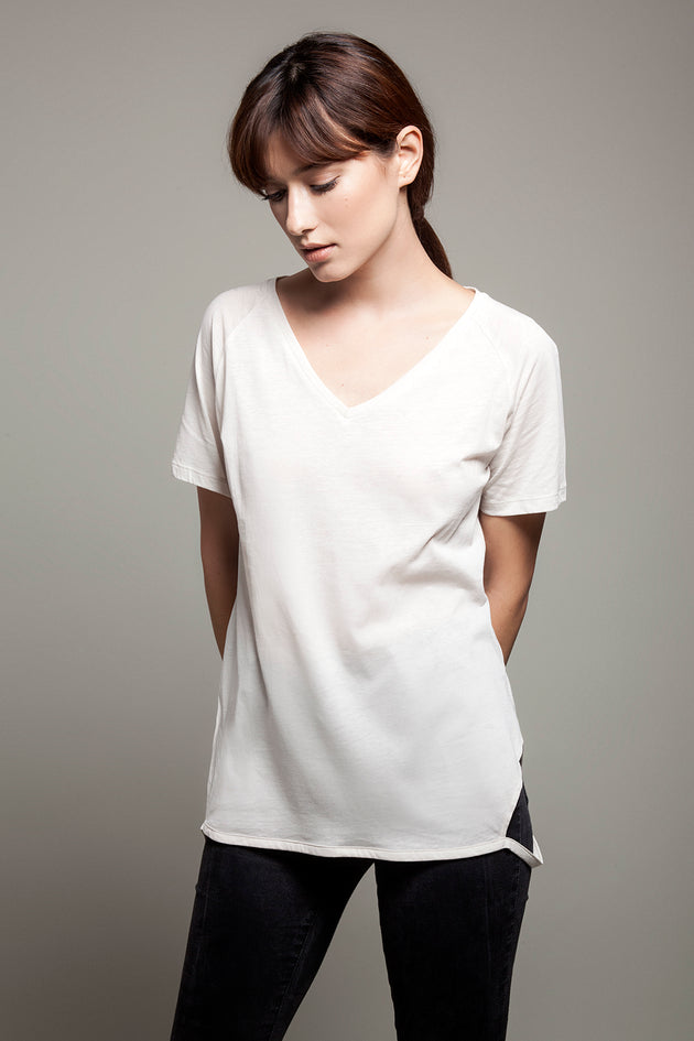 V Neck Cut Sides Tee White