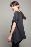 Round Neck Asymmetric Tee Charcoal