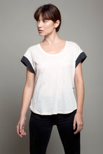 Round Neck Color Block Tee Light Beige