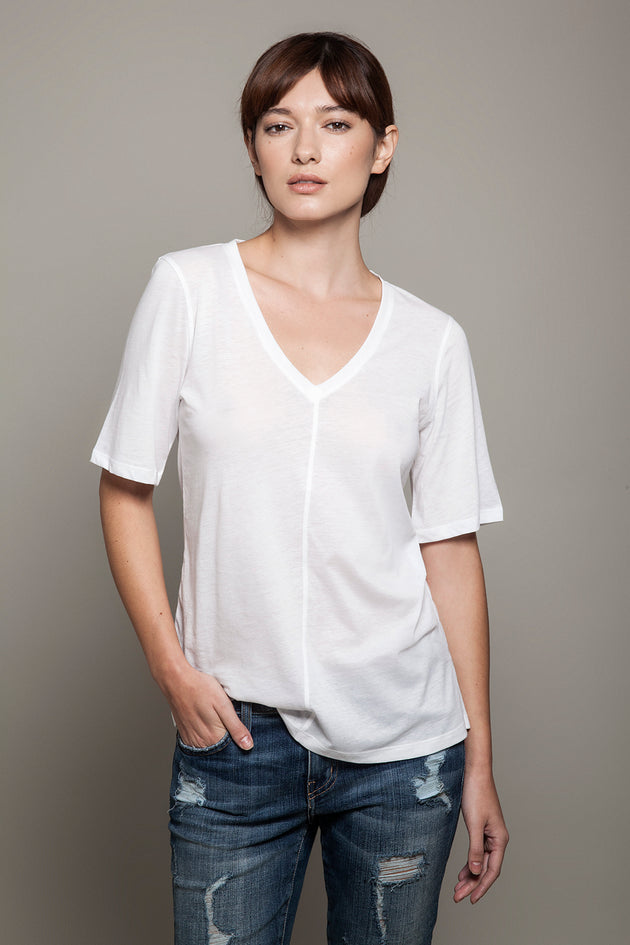 V Neck Relaxed Tee White