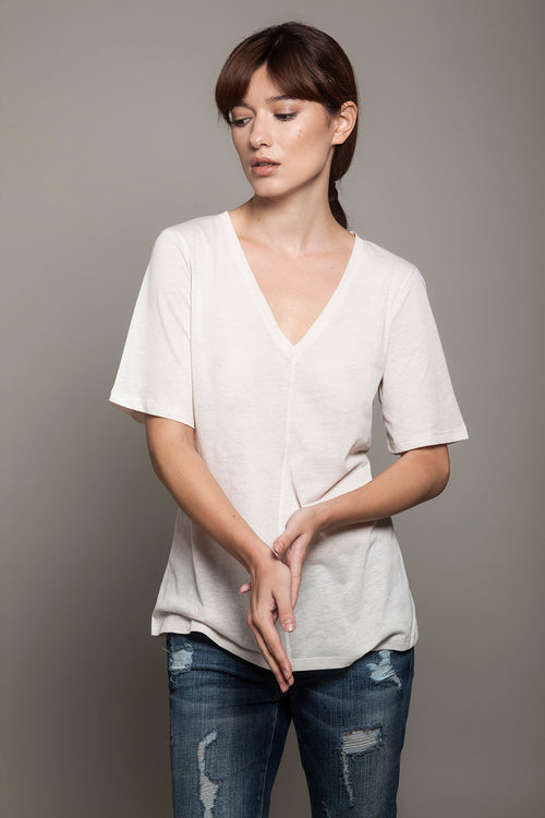 V Neck Relaxed Tee Light Beige