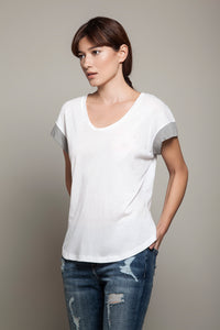 Round Neck Color Block Tee White