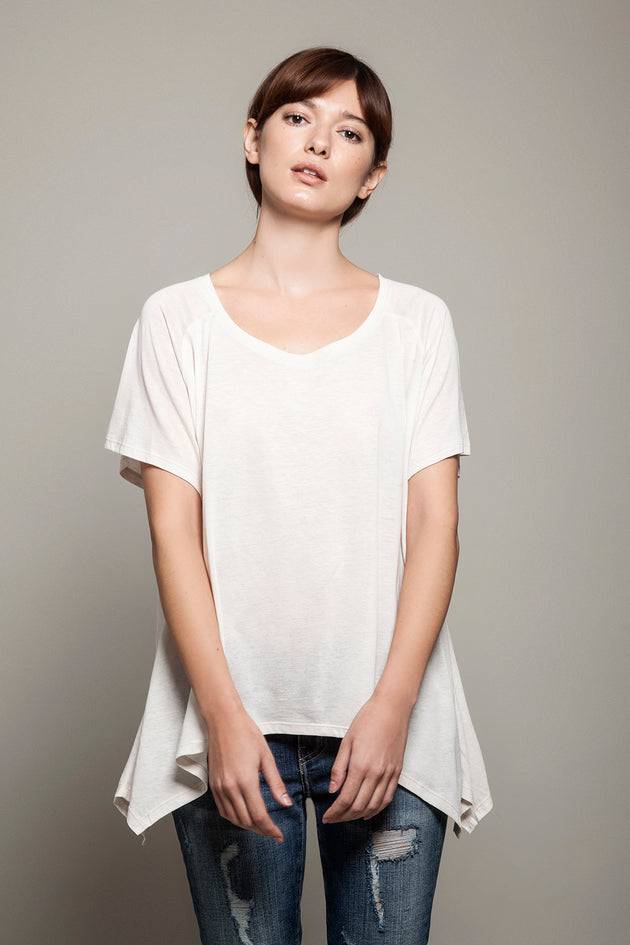 Round Neck Asymmetric Tee Light Beige