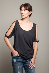 Round Neck Open Shoulders Tee Charcoal