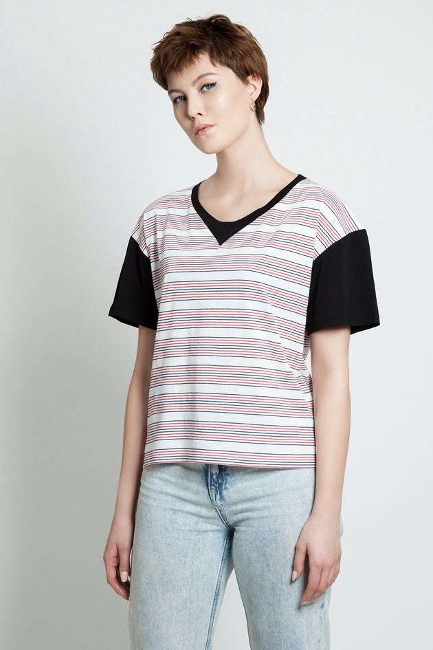 Stripe Color Block short Boyfriend Tee