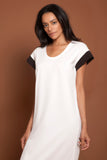 Round Neck Color Block Tee Dress White