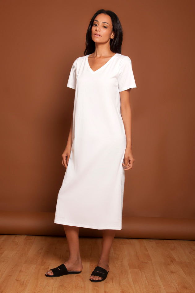 Basic V Neck Tee Dress White