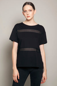 Boyfriend Tee with Japanese Mesh Panels