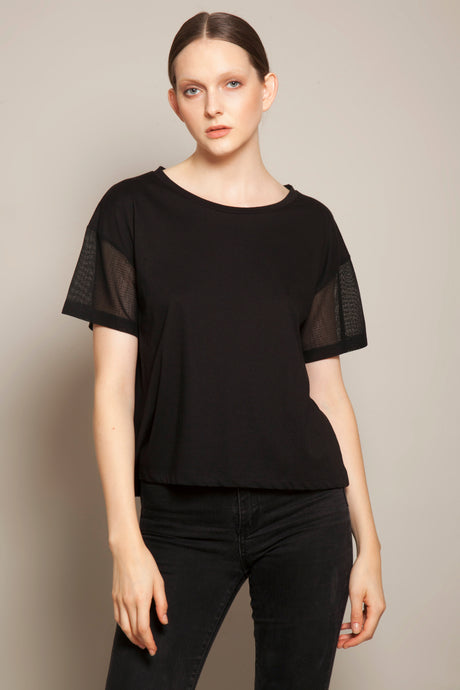 Short Boyfriend Tee with Japanese Mesh Sleeves