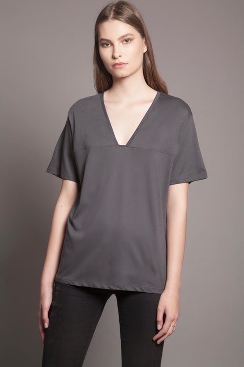 Basic Deep-V Tee Anthracite