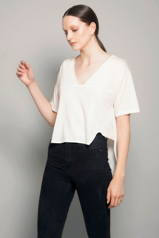 Deep V Short Front Tee  Daylight White
