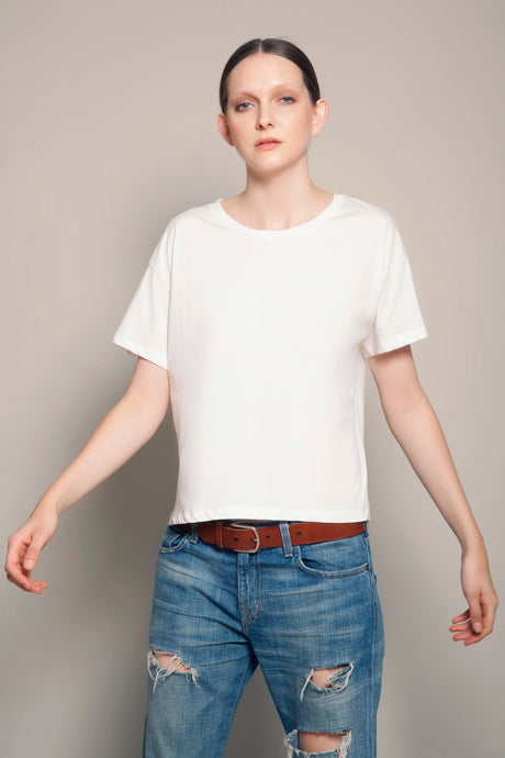 Short Boyfriend Tee Daylight White