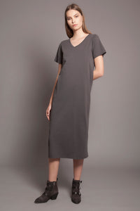 Basic V Neck Tee Dress Anthracite